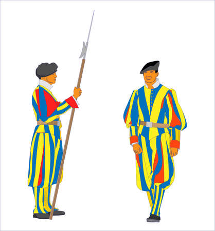 vector Papal Swiss Guards in uniform
