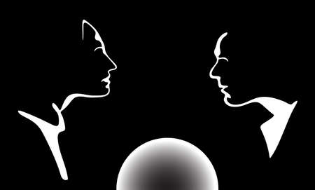 Vector silhouette profile man and woman face