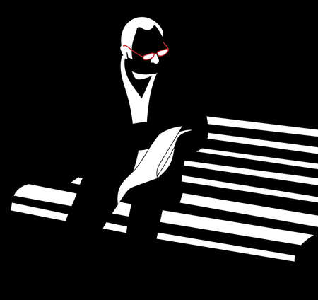 man with glasses reading newspaper sitting on bench vector silhouette