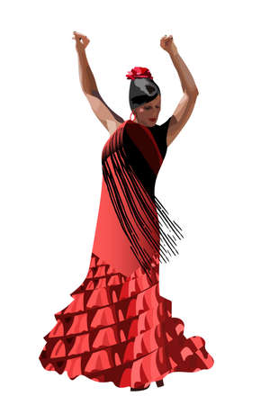 vector spanish girl in red dress dances a flamenco