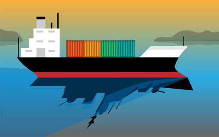 cargo ship and his reflection as a warship - concept of trade and war