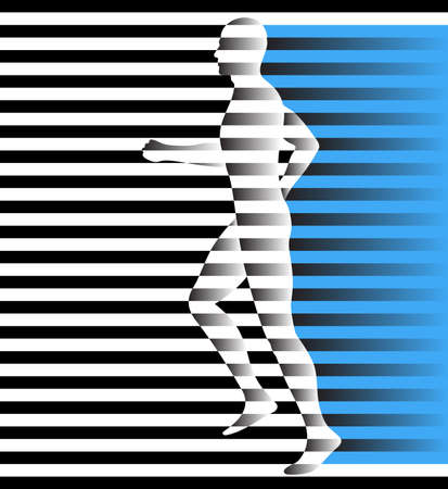 run, running man profile from lines, abstract vector silhouette