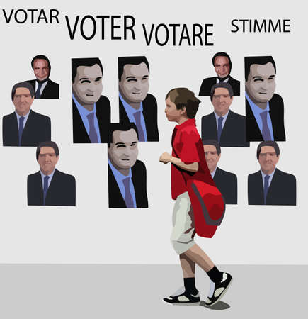 Vector concept of young voter and politics. Not real persons.