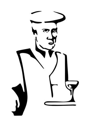 Man sitting with a glass of wine. Free hand vector drawing. Not real person.
