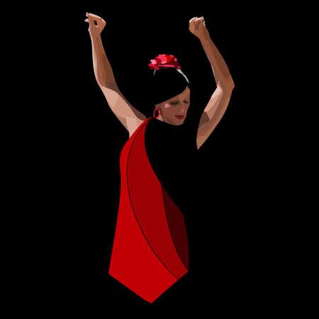 vector spanish girl in red dress dances a flamenco Ilustración de vector