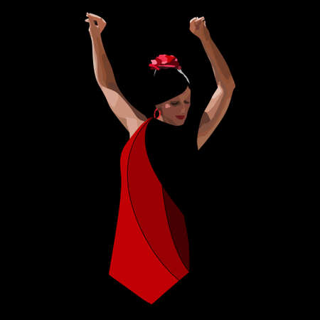 vector spanish girl in red dress dances a flamenco