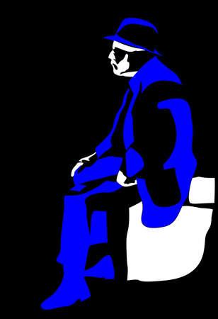 vector sitting elderly man silhouette on black background