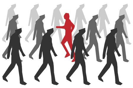 vector concept of dissident - man goes against the movement of the crowd