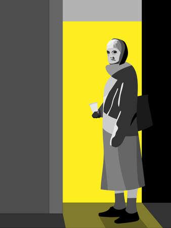 beggar woman near a door vector