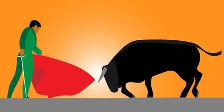 Corrida, bullfighting in Spain. Matador, bullfighter, bull. Vector illustration Vettoriali