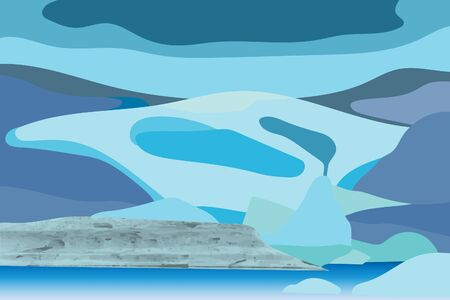 vector illustration of glacier with natural texture