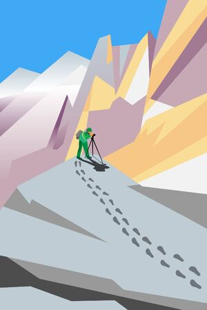 vector painting of photographer shooting something in mountains