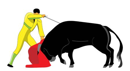 vector cartoon torero with bull Vettoriali