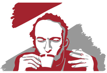 Vector illustration of a man with cup of coffe and cigarette. Not real person.