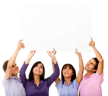 displaying: Group of friends displaying a sign over their head - isolated over a white background