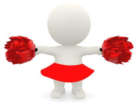 pompom: Cheerleader 3D con pompon - isolato su uno sfondo bianco