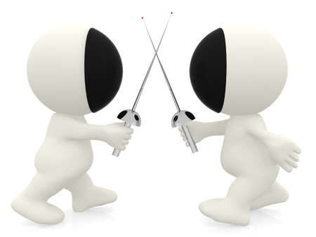 3D cartoon people fencing - isolated over a white background   photo