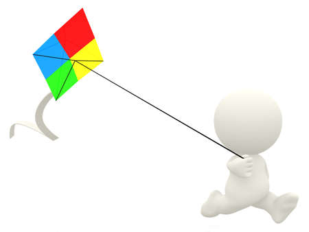 flying man: 3D cartoon man flying a kite - isolated over a white background