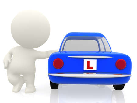 3D man learning to drive in a car with an L sign - isolated photo