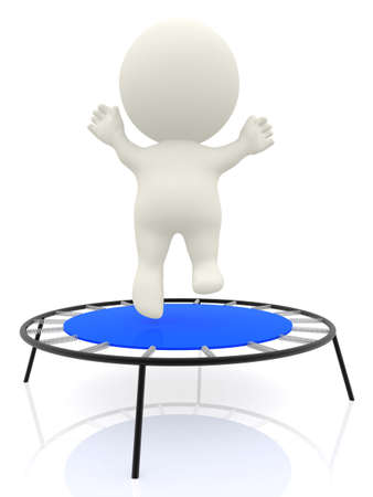 3D cartoon man jumping on a trampolin and having fun - isolated photo