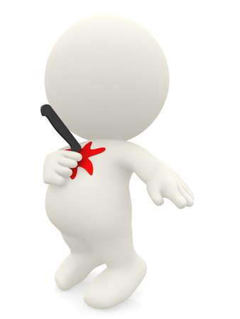 hemorragias: 3D hombre apu�alado en el pecho con un cuchillo - aislado sobre blanco