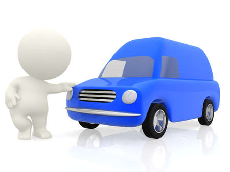 3D cartoon man with a van working in transportation - isolated over a white background photo