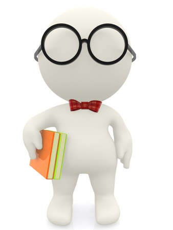 dull: 3D cartoon nerd wearing glasses an a bowtie - isolated Stock Photo