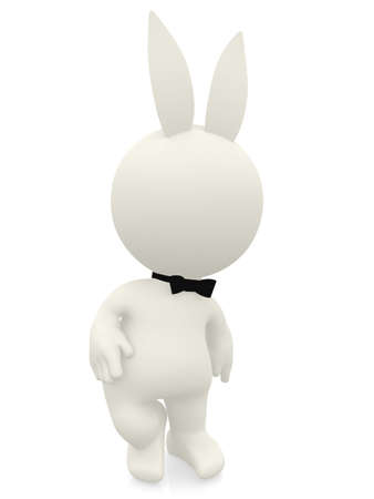 3D cartoon of a playboy bunny - isolated over a white background  Stock Photo - 11287645