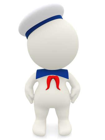 sailor: 3D de dibujos animados marinero en uniforme - aislados en un fondo blanco Foto de archivo