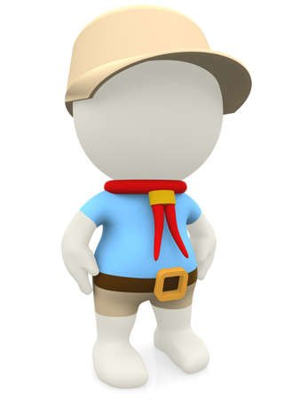 3D cartoon boy scout - isolated over a white background photo