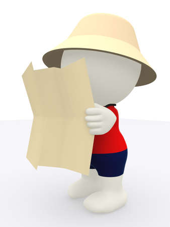 explorer man: 3D tourist cartoon reading a map - isolated over a white background