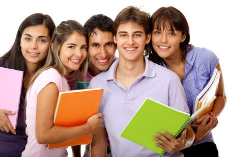 latin students: Happy group of college students with notebooks and smiling - isolated over a white background