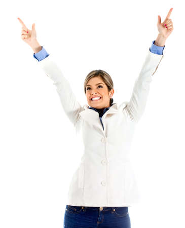 Successful business woman celebrating with arms up - isolated over a white background Stock Photo - 11292024