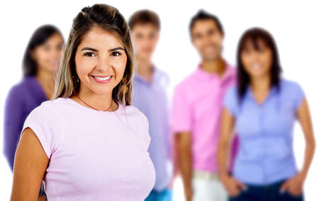 Woman leading a casual group and smiling - isolated over a white background photo
