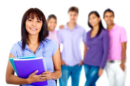 hispanic student: Mujer con un grupo de estudiantes - aislados en un fondo blanco