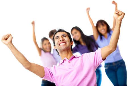 donna entusiasta: Il successo del gruppo informale con le braccia up - isolato su uno sfondo bianco