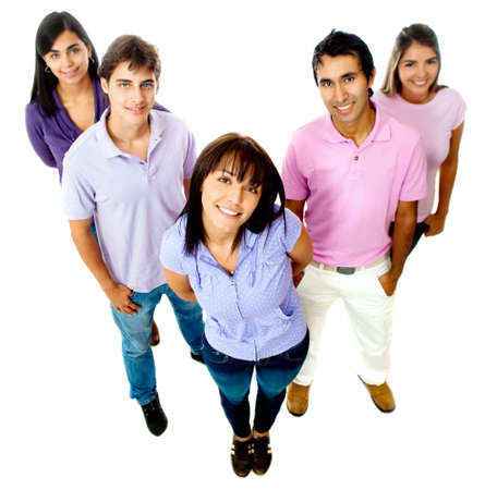 Group of casual teenagers smiling - isolated over a white background photo