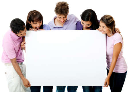 youth group: Group friends looking at a banner - isolated over a white background