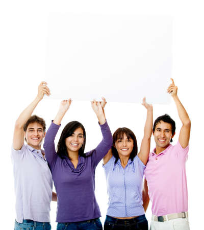 People holding a banner - isolated over a white background photo