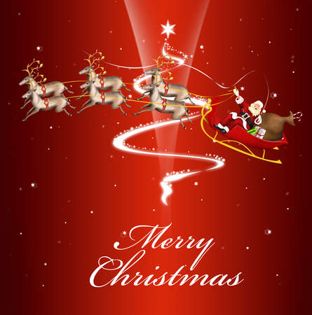 Beautiful red card with Santa on a sleigh wishing a Merry Christmas Stock Photo - 11465717