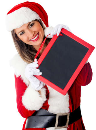 Mrs. Claus with a blackboard to Merry Christmas or any message – isolated  photo