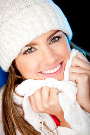 winter woman: Beautiful winter woman portrait wearing warm clothes  Stock Photo