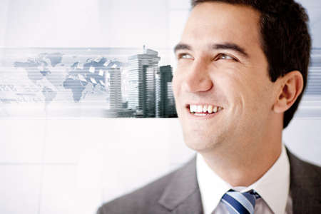 Global business man with the world map on a white background  Stock Photo - 12027461