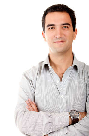30s adult: Casual man smiling with arms crossed - isolated over white