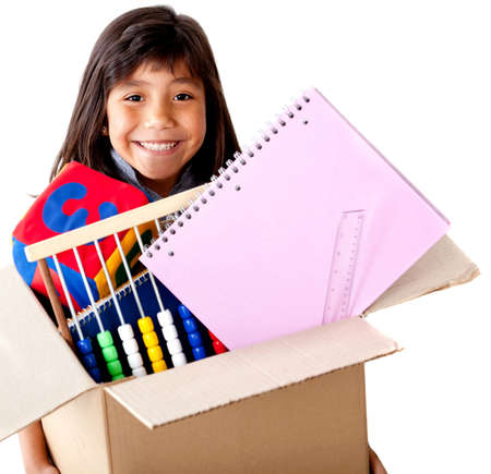 belongings: Girl moving house holding a box full of her belongings - isolated  Stock Photo