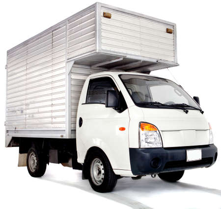 delivery package: Lorry truck - isolated over a white background Stock Photo