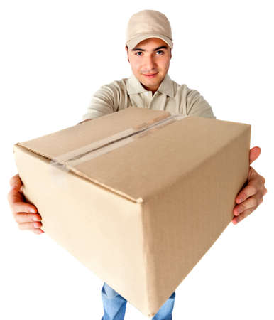 delivering: Man delivering a package - isolated over a white background