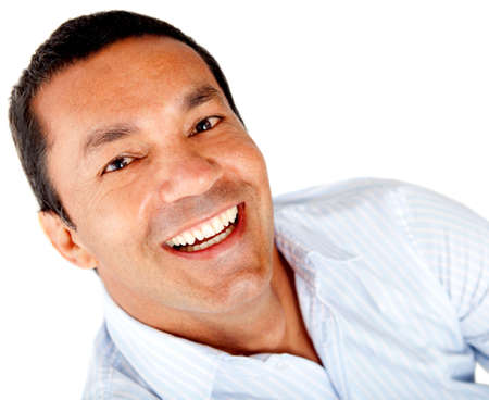 Happy man portrait smiling - isolated over a white background photo