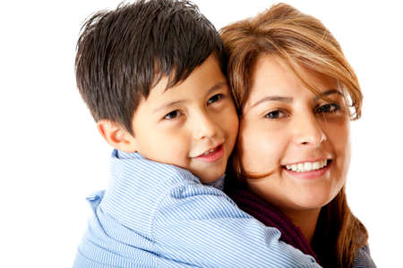 single moms: Boy with his mother - isolated over a white background Stock Photo