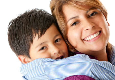 single moms: Family portrait of mother and son - isolated over a white background Stock Photo